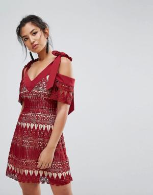 Keepsake Кружевное платье Walk On By. Цвет: красный