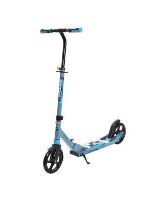 Самокат городской NOVATRACK POLIS алюм. max 100кг амортиз. колеса 205 мм. Цвет: синий