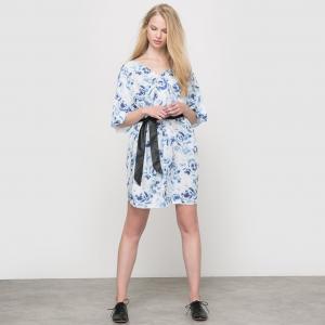 Платье RECEPT, с цветочным принтом SCHOOL RAG. Цвет: рисунок цветочный/синий