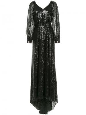 Платье макси с пайетками Ingie Paris. Цвет: чёрный