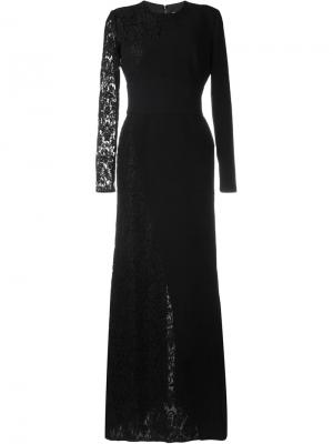 Платье с кружевными вставками Fausto Puglisi. Цвет: чёрный