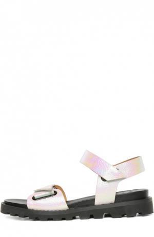 Сандалии из металлизированной кожи Marc by Jacobs. Цвет: розовый