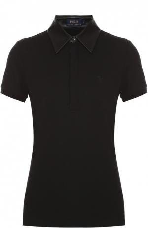 Облегающее поло с кожаным отложным воротником Polo Ralph Lauren. Цвет: черный