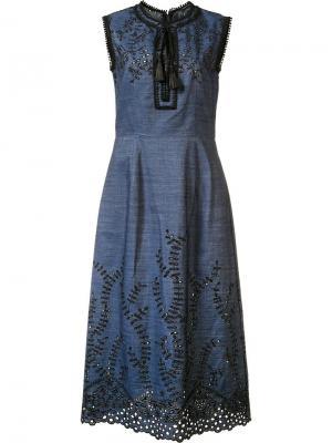 Джинсовое платье с вышивкой Yigal Azrouel. Цвет: синий