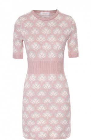 Вязаное мини-платье с коротким рукавом и цветочным принтом Tak.Ori. Цвет: розовый