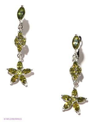 Серьги Royal Diamond. Цвет: светло-зеленый, серебристый