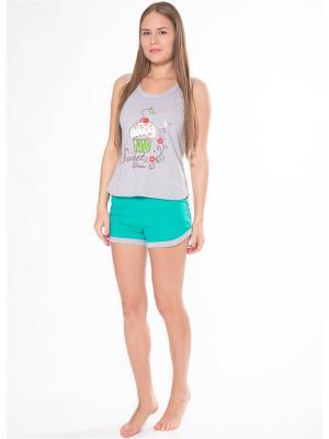 Пижама Flip. Цвет: серый, зеленый