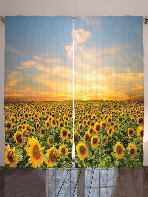 Комплект фотоштор Поле подсолнухов, 290*265 см Magic Lady. Цвет: желтый, зеленый, голубой
