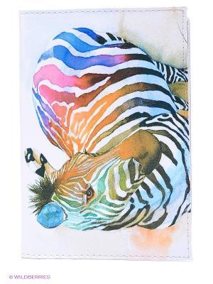 Обложка для автодокументов Радужная зебра Mitya Veselkov. Цвет: светло-голубой, розовый, синий, коричневый