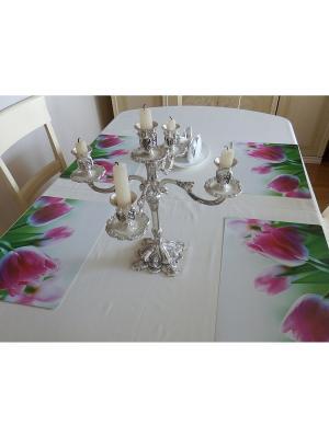 Красивые праздничные сервировочные салфетки на стол, набор 4шт, плейсмат Зеленая планета. Цвет: розовый, белый, зеленый