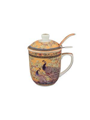 Кружка с металлическим ситом Павлин золотой Elan Gallery. Цвет: золотистый, синий, коричневый, розовый