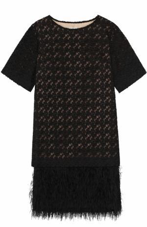 Платье прямого кроя с отделкой из пера страуса Dries Van Noten. Цвет: черный