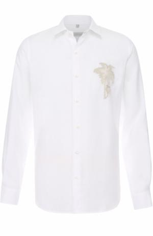 Льняная рубашка с отстегивающимся воротником Cortigiani. Цвет: белый