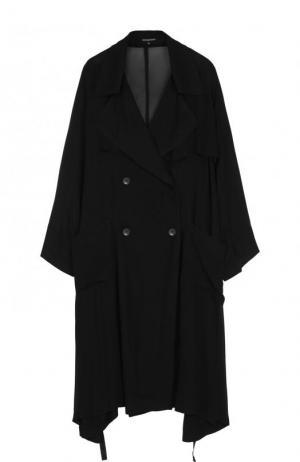 Полупрозрачное двубортное пальто из вискозы Ann Demeulemeester. Цвет: черный