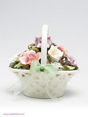 Музыкальная композиция Цветочная корзина Pavone. Цвет: молочный, светло-зеленый, светло-коралловый