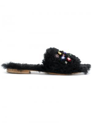 Декорирвоанные сандалии Emanuela Caruso. Цвет: чёрный