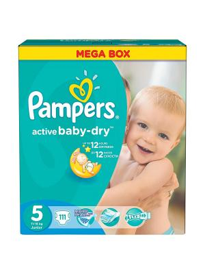 Подгузники Active Baby-Dry 11-18 кг, 5 размер, 111 шт. Pampers. Цвет: зеленый