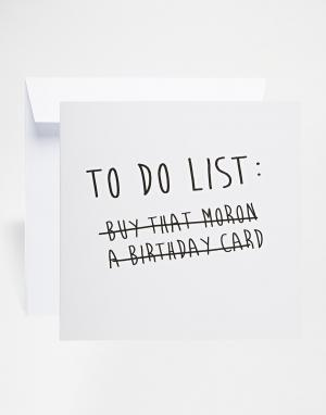 The Naughty Little Card Shop Открытка To Do List. Цвет: мульти