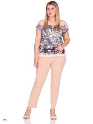 Блузка СТиКО. Цвет: светло-серый, бледно-розовый, светло-бежевый