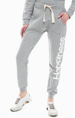 Серые брюки джоггеры с карманом-кенгуру Happiness. Цвет: серый