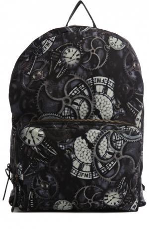 Рюкзак с принтом и внешним карманом Frankie Morello. Цвет: темно-синий
