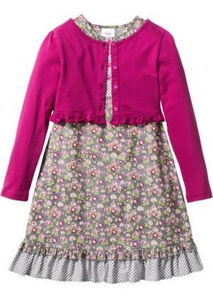 Платье + трикотажный кардиган (2 изд.) (серебристый матовый/розовый/цвет фуксии в цветочек) bonprix. Цвет: серебристый матовый/розовый/цвет фуксии в цветочек