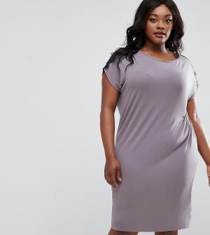 Elvi Присборенное сбоку платье с кружевной отделкой Plus. Цвет: серый