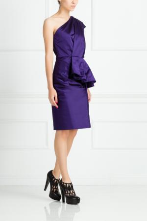 Шелковое платье Oscar de la Renta. Цвет: фиолетовый
