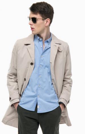 Бежевый хлопковый тренчкот с карманами Marc O'Polo. Цвет: бежевый