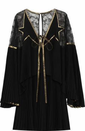Мини-платье с плиссированными и кружевными вставками Elie Saab. Цвет: черный