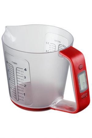 Весы кухонные электронные Федерация. Цвет: прозрачный, красный