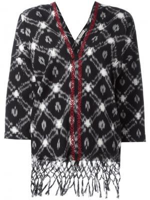 Блузка с V-образным вырезом и бахромой Masscob. Цвет: чёрный