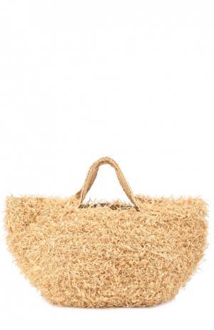 Плетеная сумка из рафии Sans-Arcidet. Цвет: бежевый