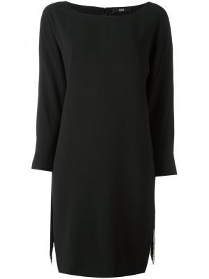 Платье с бахромой и вырезом-лодочкой Steffen Schraut. Цвет: чёрный