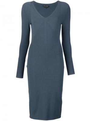 Облегающее платье с V-образным вырезом Narciso Rodriguez. Цвет: синий
