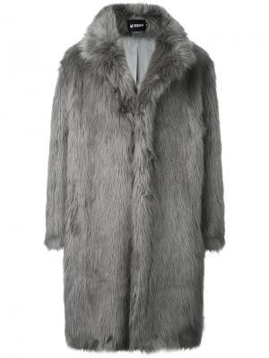 Пальто с длинным ворсом Misbhv. Цвет: серый