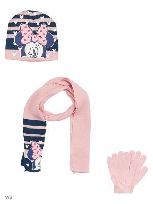 Комплект шапка, шарф и перчатки Sun City. Цвет: бледно-розовый