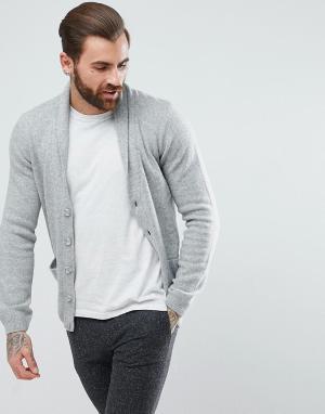 ASOS Светло-серый кардиган из овечьей шерсти с шалевым воротником. Цвет: серый