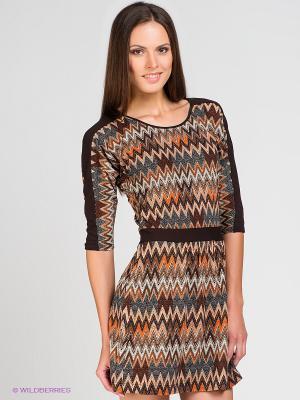 Платье V&V. Цвет: коричневый, рыжий