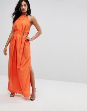 AQ Платье макси с поясом и сборками AQ/AQ. Цвет: оранжевый