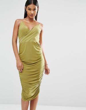 Club L Платье миди с запахом спереди и драпировкой на спинке. Цвет: зеленый
