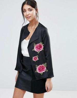 Jessica Wright Куртка с цветочной вышивкой. Цвет: черный
