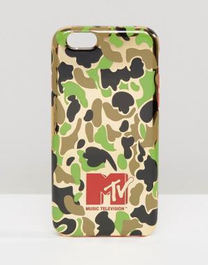 MTV Чехол для iPhone 6 с камуфляжным принтом. Цвет: зеленый