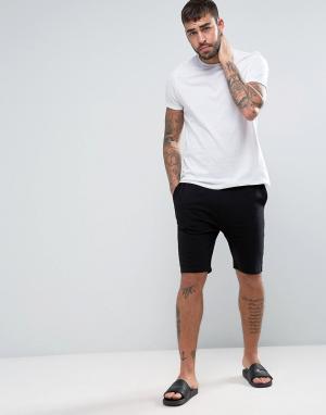 ASOS Трикотажные пижамные шорты скинни с фирменным поясом. Цвет: черный