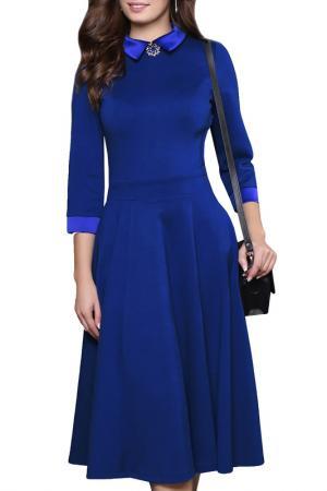 Платье с брошью, рукава 3/4, юбка-пятиклинка Grey Cat. Цвет: синий