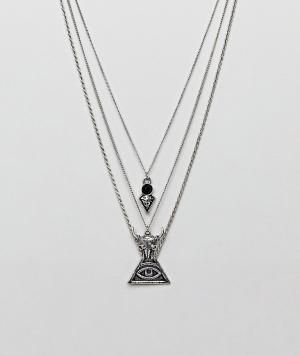 ASOS Серебристое многослойное ожерелье с подвесками в виде глаза и головы б. Цвет: серебряный