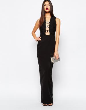 AQ Платье-футляр макси с декольте и металлической отделкой AQ/AQ Climax. Цвет: черный