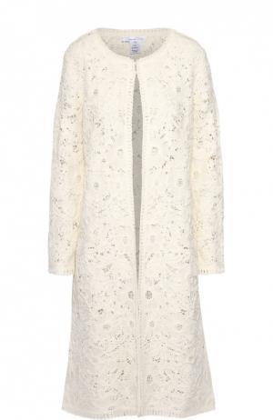 Кружевное пальто прямого кроя с круглым вырезом Oscar de la Renta. Цвет: белый