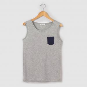 Топ с контрастным карманом 10-16 лет R pop. Цвет: серый меланж