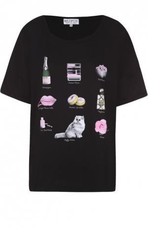Хлопковая футболка прямого кроя с ярким принтом Wildfox. Цвет: черный